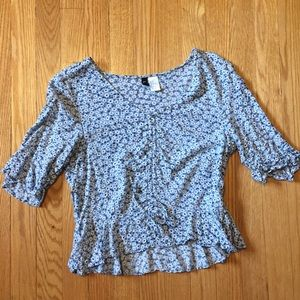 H&M Cropped Floral Blouse
